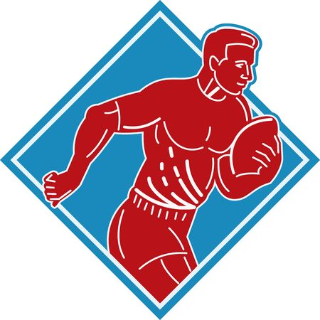 footie: illustration of a rugby player running with the ball set inside a diamond