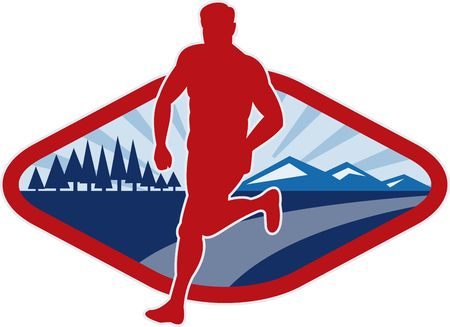 illustration of a Cross country runner with landscape and sunburst Stock Illustration - 6532522