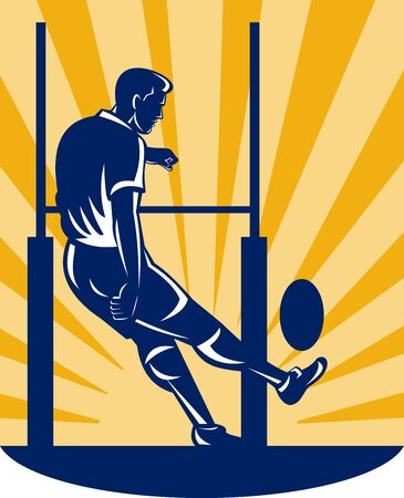 league: illustration of a rugby player kicking at goal post