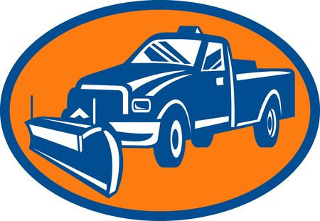 plow: illustration of an icon with Snow plow pick-up truck inside oval
