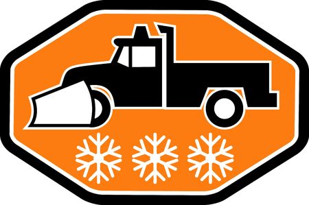 imagery: Imagery shows a Snow plow truck with snowflake in background inside heaxagon Stock Photo