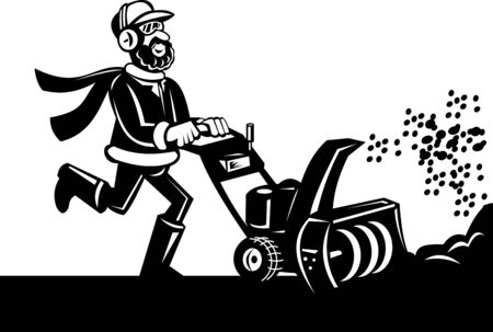 thrower: Cartoon style vector illustration of a Man operating a snow blower or snow thrower done in black and white.