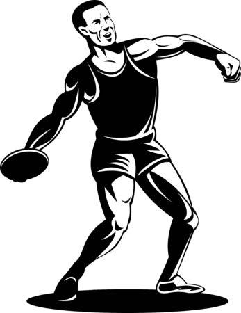 lanzamiento de disco: lanzamiento en lanzamiento de atleta.  Foto de archivo