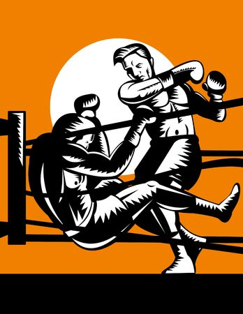 opponent: Boxer knockout opponent out of boxing ring