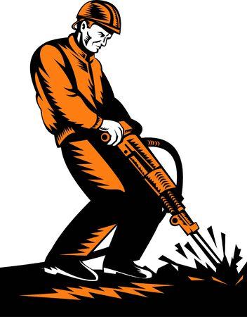 Pre�lufthammer: Bauarbeiter mit jackhammer