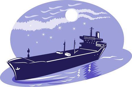 mares: Tanker comercial navegando en alta mar