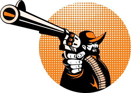outlaw: cowboy bandit outlaw aiming gun at you Stock Photo