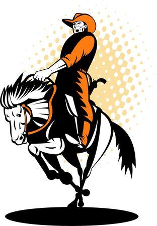 bucking bronco: Rodeo cowboy riding a horse