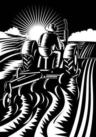 plowing: Farmer en tractor arando campo  Foto de archivo