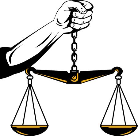 weighing: hand holding scales of justice