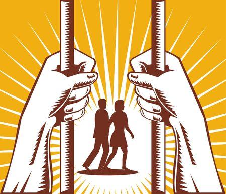 slammer: prisoner behind bars with couple walking