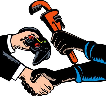 barter: hand swapping plumbing services and game controller