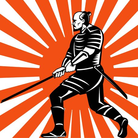 brandishing: illustration of samurai warrior with sword in fighting stance facing side with sunburst in background