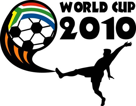 footie: illustration of an icon for 2010 soccer world cup with player kicking ball with flag of republic of south africa