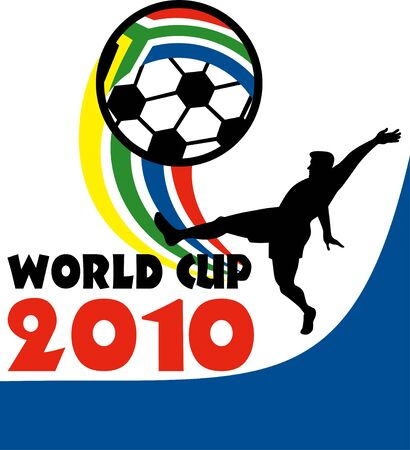 striker: illustration of an icon for 2010 soccer world cup with player kicking ball with flag of republic of south africa