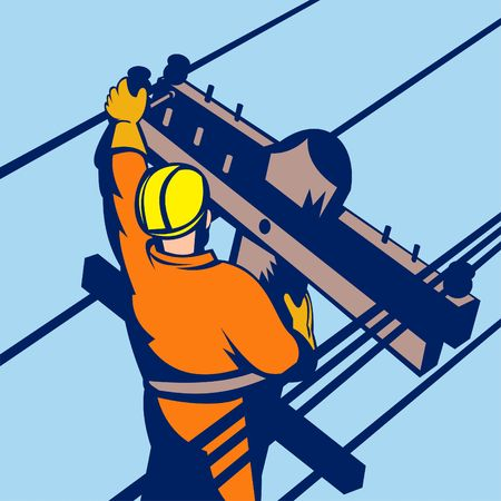 power lineman at work photo