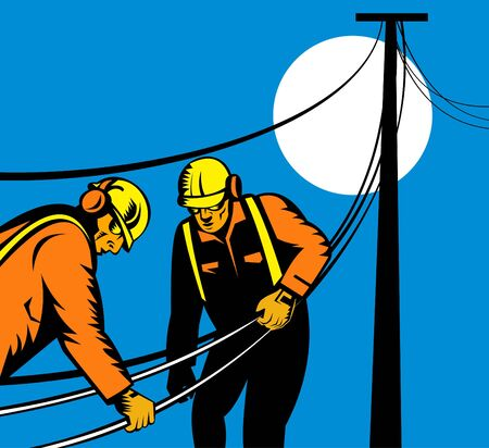 power lineman repairing eletricity cable photo
