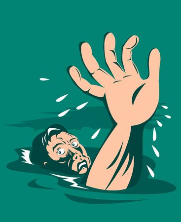 drowning: Man drowning reaching out for help Stock Photo