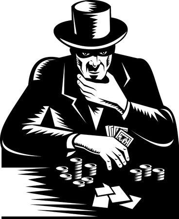 gambler: gambler wtith top hat playing poker