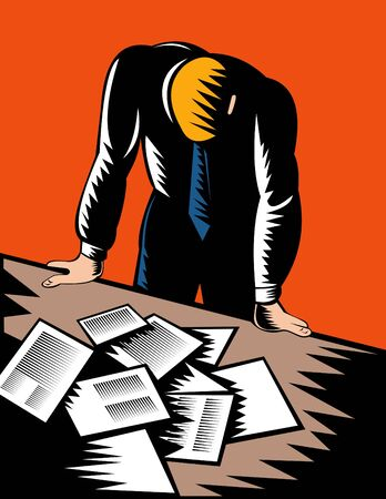 hunched: Male office worker hunched over paperwork