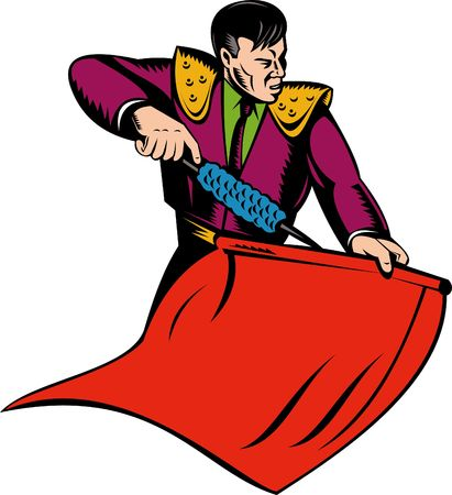 Matador or bullfighter with red cape photo