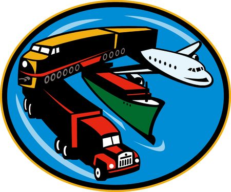 air freight: illustration on land, sea, and air freight, transportation and travel. Stock Photo