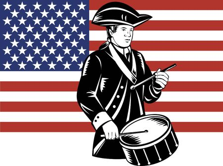 patriot: American patriot drummer with flag Stock Photo