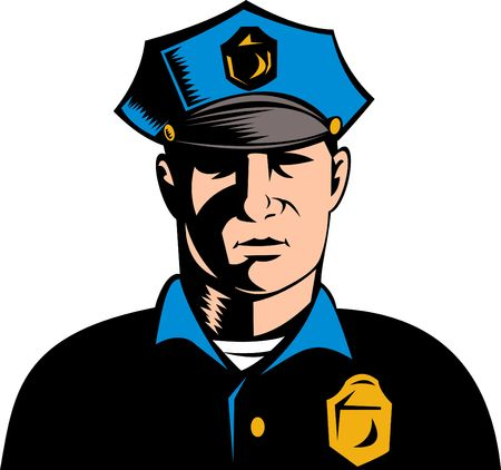 a police officer: police officer or security guard Stock Photo
