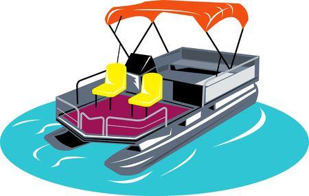 pontoon boat isolated on white