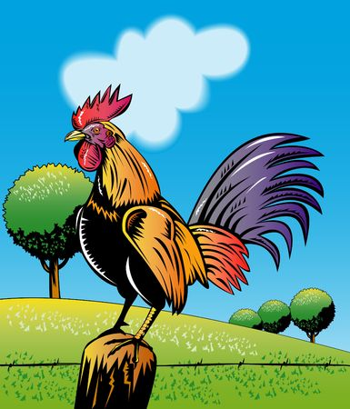 rooster sitting on top of post crowing with field in background photo