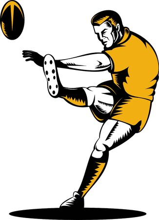 rugby player kicking the ball photo