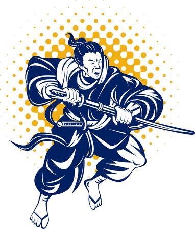 asian warrior:  Samurai warrior with katana sword