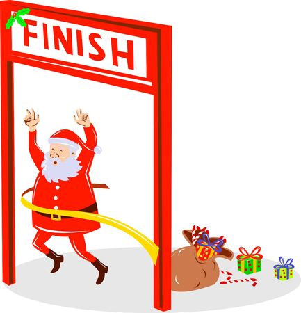 kris: santa claus winning crossing the finish line