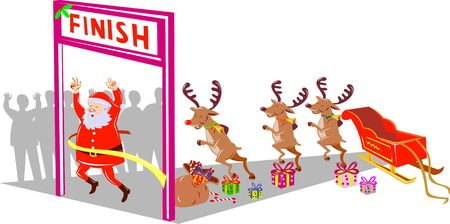 kris kringle: santa claus and reindeers winning the race Stock Photo