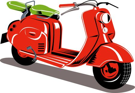 red motor scooter isolated on white Stock Photo - 7237567