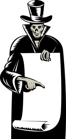 grim reaper with top hat pointing to blank scroll photo