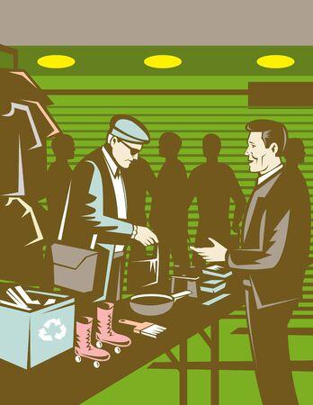 barter: People in indoor  swap meet buying and selling Stock Photo