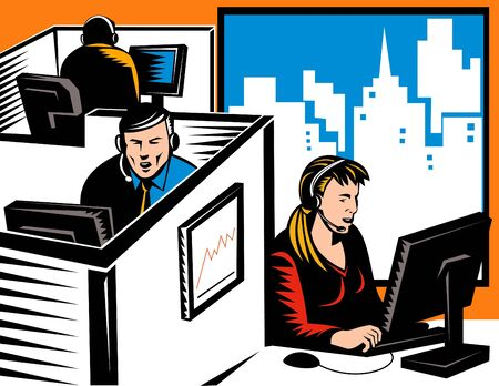 office cubicle: workers working at call center