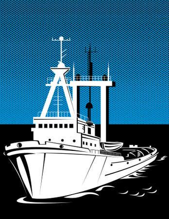tugboat: tugboat at sea Stock Photo
