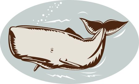 whale woodcut style photo