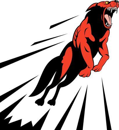 perro furioso: perro salvaje enojado o lobo saltando