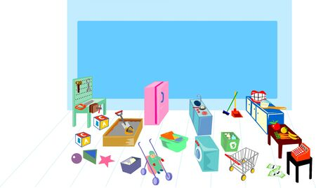 dust pan: illustration of a Play area showing washing, cooking, kitchen and grocery. Stock Photo