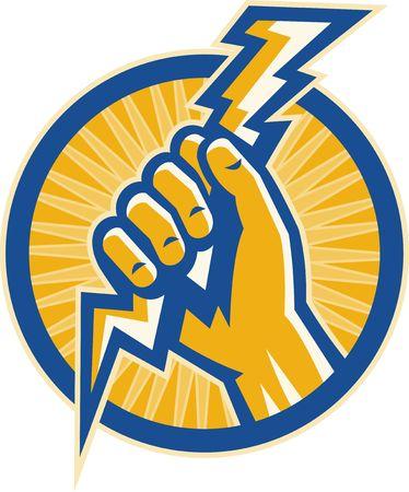 strom: Abbildung oder Bilder, die eine Hand zeigt halten einen Gewitterblitz Strom innerhalb eines Kreises festgelegt.
