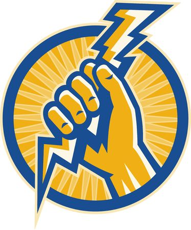 bolt: illustration or Imagery that shows a Hand hold a lightning bolt of electricity set inside a circle.