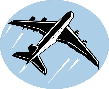 jumbo: illustration of a Jumbo jet airliner taking off Stock Photo