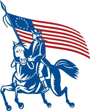 illustration of an American revolutionary general a riding horse with Betsy Ross Flag illustration