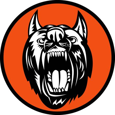 growling: illustration of an Angry Dog barking growling at you
