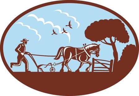 arando: Farmer y caballo arando en granja  Foto de archivo