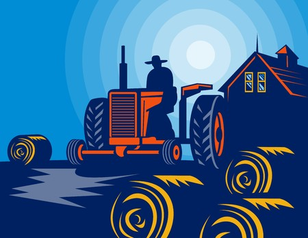hay bales: illustration of a Farmer driving vintage tractor with hay bales and farmhouse barn in the background. Stock Photo