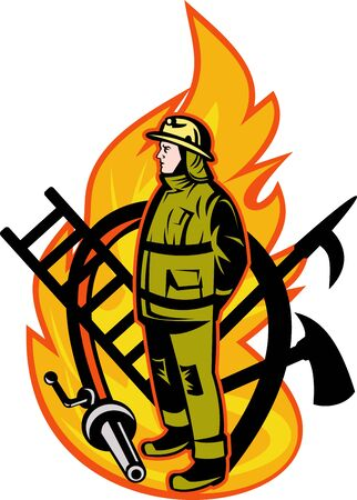 man full body: illustration of a Firefighter with axe ladder, spear, hook and fire hose.